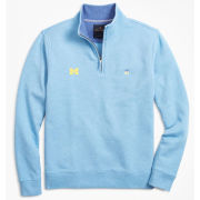 Brooks Brothers University of Michigan Light Blue French Terry 1/2 Zip Sweater