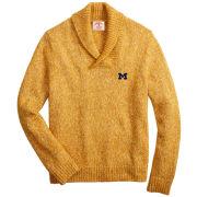 Brooks Brothers Red Fleece University of Michigan Yellow Shawl-Collar Sweater