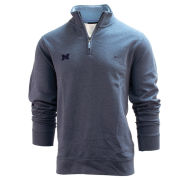 Brooks Brothers University of Michigan Denim Blue French Terry 1/2 Zip Sweatshirt