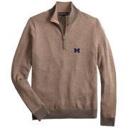 Brooks Brothers University of Michigan Khaki Merino Wool Herringbone 1/2 Zip Sweater