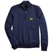Brooks Brothers University of Michigan Navy Merino Wool Herringbone 1/2 Zip Sweater
