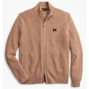 Brooks Brothers University of Michigan Camel Shaker Stitch Merino Wool Full Zip Sweater