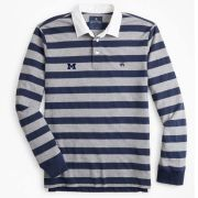 Brooks Brothers University of Michigan Navy/Gray Striped Rugby Shirt