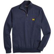 Brooks Brothers University of Michigan Navy Supima Cotton 1/2 Zip Sweater