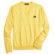 Brooks Brothers University of Michigan Yellow Supima Cotton V-Neck Sweater