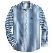 Brooks Brothers University of Michigan Regent Fit Blue Indigo Dyed Stripe Sport Shirt