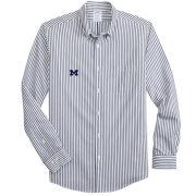 Brooks Brother's University of Michigan White/Navy Candy Stripe Regent Fit Sport Shirt