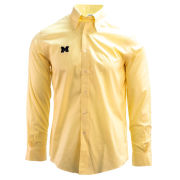 Brooks Brothers University of Michigan Yellow Stretch Pinpoint Regent Fit Sport Shirt