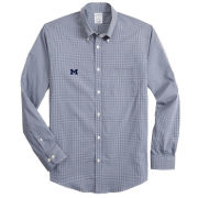 Brooks Brothers University of Michigan Navy Regent Fit Gingham Performance Sport Shirt