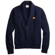 Brooks Brothers Red Fleece University of Michigan Navy Shawl Collar Button-Front Cardigan Sweater