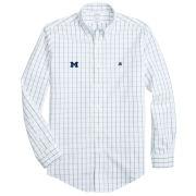 Brooks Brothers University of Michigan White Windowpane Regent Fit Sport Shirt