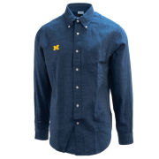 Brooks Brothers University of Michigan Indigo Royal Regent Fit Long Sleeve Sport Shirt
