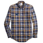 Brooks Brothers University of Michigan Navy/Gold Plaid Regent Fit Sport Shirt