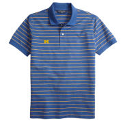Brooks Brothers University of Michigan Blue Cotton Striped Slim Fit Polo