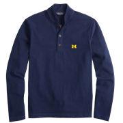 Brooks Brothers University of Michigan Navy Shawl Collar Long Sleeve Henley