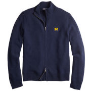 Brooks Brothers University of Michigan Navy Merino Wool Full Zip Cardigan Sweater