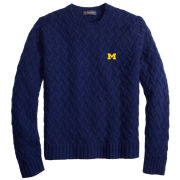Brooks Brothers University of Michigan Blue Lambs Wool Traveling Cable Knit Crewneck Sweater