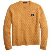 Brooks Brothers University of Michigan Yellow Lambs Wool Traveling Cable Knit Crewneck Sweater