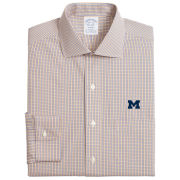 Brooks Brothers University of Michigan Stretch Regent Fit Navy/Yellow Gingham Dress Shirt