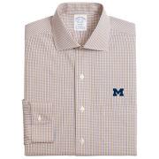 Brooks Brothers University of Michigan Stretch Regent Fit Navy/Yellow Gingham Dress Shirt