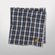 Brooks Brothers University of Michigan Navy and Yellow Plaid Pocket Square