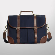 Brooks Brothers Navy Canvas with Leather Trim Messenger Bag