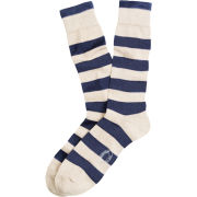 Brooks Brothers Red Fleece University of Michigan Oatmeal Rugby Striped Socks
