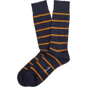 Brooks Brothers University of Michigan Navy Merino Wool Striped Crew Socks