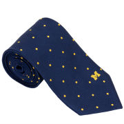 Brooks Brothers University of Michigan Navy with Maize Polka Dot Jacquard Tie