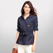Brooks Brothers University of Michigan Ladies Navy Roll Sleeve Shirt