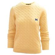 Brooks Brothers University of Michigan Women's Yellow Italian Cashmere Cable Knit Sweater