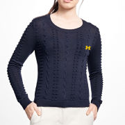 Brooks Brothers Red Fleece University of Michigan Women's Navy Supima Cable Stitched Popcorn Sweater