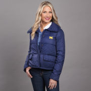 Brooks Brothers University of Michigan Women's Navy Cropped Puffer Jacket