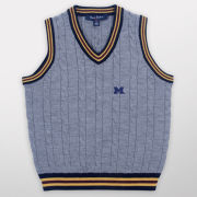 Brooks Brothers Fleece University of Michigan Youth Heather Gray Cable Knit Sweater Vest