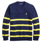 Brooks Brothers Fleece Youth Navy with Yellow Stripes Sweater
