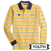 Brooks Brothers Fleece University of Michigan Youth Yellow Long Sleeve Striped Polo Shirt