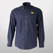 Cutter & Buck University of Michigan Navy Long Sleeve Easy Care Sport Shirt