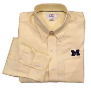 Cutter & Buck University of Michigan Pale Yellow L/S Nailshead Sport Shirt