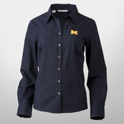 Cutter & Buck University of Michigan Ladies Navy Fine Twill Shirt