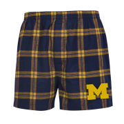 College Concepts University of Michigan Plaid Flannel Boxer Shorts