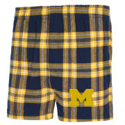 College Concepts University of Michigan Takeaway Plaid Flannel Boxer Shorts