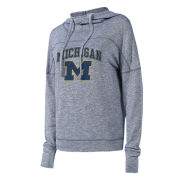 College Concepts University of Michigan Women's Heather Navy Marble Knit Hooded Top