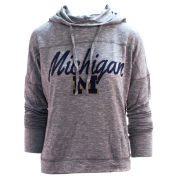 College Concepts University of Michigan Women's Gray Marble Knit Hooded Long Sleeve Tee