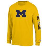 Champion University of Michigan Yellow Long Sleeve Block 'M' Tee