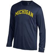 Champion University of Michigan Navy Basic Long Sleeve Performance Tee