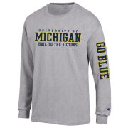 Champion University of Michigan Gray Long Sleeve Two-Location Tee
