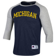 Champion University of Michigan Navy/Gray Rochester 3/4 Length Raglan Sleeve Tee