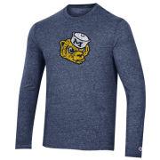 Champion University of Michigan Heather Navy College Vault Wolverine Long Sleeve Triblend Tee