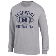 Champion University of Michigan Football Gray ''Essential Football Fan'' Long Sleeve Tee