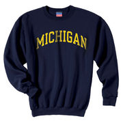 Champion University of Michigan Youth Navy Basic Crew-Neck Sweatshirt